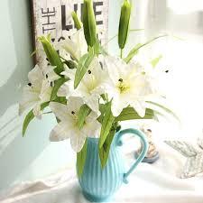 Artificial Lilies In Vase 2pcs 18cm Diameter Blossom Lily Banquet Home Wedding Decoration
