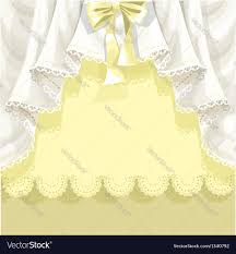 Lace Curtains Yellow Background With Lace Curtains And Bow Vector Image