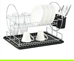Dish Drainer Deluxe Chrome Plated Steel 2 Tier Dish Rack With Drainboard