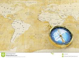 World Continents And Countries Map by Old World Map And Antique Compass Stock Illustration Image