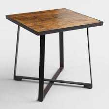 Square Wood Dining Tables Square Wood And Metal Mykah Dining Table World Market