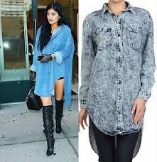 new celebrity oversized denim acid wash high low tunic shirt