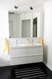 master bathroom with ikea godmorgon mirrored medicine cabinets and
