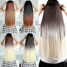 long dip dye clip in hair extensions 25 inches 63cm straight black