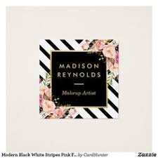 Uw Madison Business Cards Black White Stripes Pink Floral Gold Frame Square Business Card