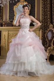 Chapel Train Wedding Dresses Strapless Ball Gown Beaded Organza Chapel Train Wedding Dresses