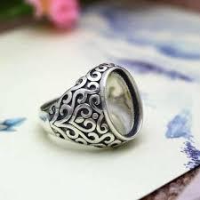 men ring 2017 sterling silver 925 wedding men ring deco 13x18mm oval