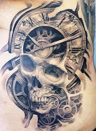 watch and skull bio mechanical tattoo design