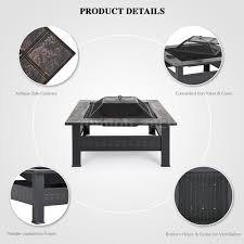 outdoor firepit square fireplace patio deck backyard w mesh cover