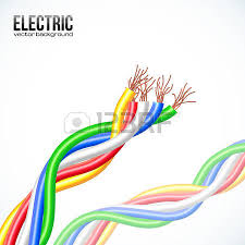 electric lightning between colored cables royalty free cliparts