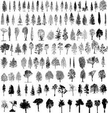 third from bottom fourth from left tree silhouettes vector 156485