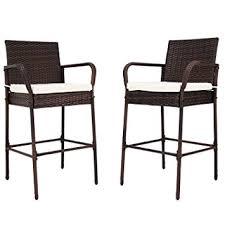 High Chair Patio Furniture Amazon Com Kinbor Set Of 2 Patio Outdoor Wicker Barstool Set