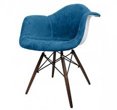 Blue Velvet Accent Chair Blue Denim Fabric Upholstered Eames Style Accent Arm Chair Blue