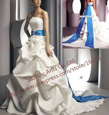 white wedding dress with royal blue sash promotion sash royal blue and white wedding dress a line cw in