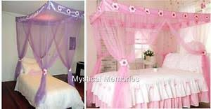 Purple Bed Canopy Pink U0026 Purple Flower Princess Mosquito Net 4 Poster Bed Canopy Get