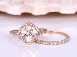 gold bridal sets s gift 10x12mm cushion cut morganite ring set morganite