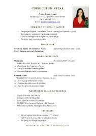 simple c v format sample resume format examples for students examples of resumes