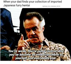 Japanese Dad Meme - when your dad finds your collection of imported japanese furry