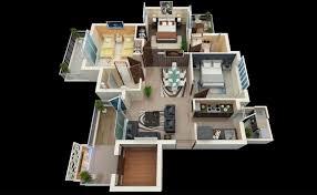 3d three bedroom house layout design plans 23034 interior ideas