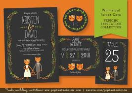 themed invitations rustic fox and cat themed wedding invitations poptastic
