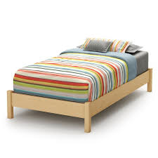 cream stained maple wood twin bed without headboard using assorted