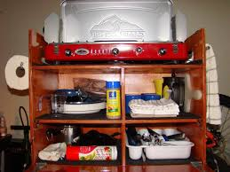 Camp Kitchen Box Plans by Cool Wooden Storage Box For Car Camping Kitchen Has Drop Down