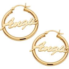 personalized earrings personalized 14kt gold plated sterling silver name hoop earrings