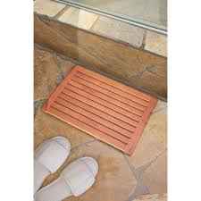 Teak Outdoor Shower Enclosure by Bathroom Cozy Stone Flooring With Teak Shower Mat For Exciting