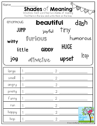 shades of meaning tons of other great printables 2nd grade