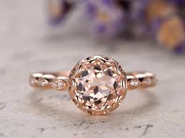 7mm diamond 7mm pink morganite engagement ring diamond solid 14k gold