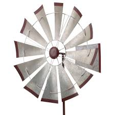 Kinetic Garden Art Regal 32 In Kinetic Stake Galvanized Windmill 11754 The Home