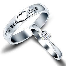 rings pictures weddings images Endless love quot engraved heart cubic zirconia couple wedding bands jpg