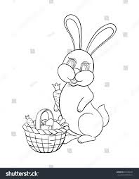 vector illustration coloring kids rabbit collect stock vector