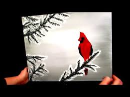 how to paint a cardinal in the snow winter scene youtube