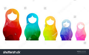 russian dolls icons set logo silhouette stock vector 306870068