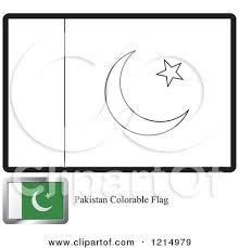 clipart of a coloring page and sample for a pakistan flag