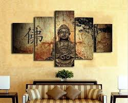 Buddha Room Decor Aliexpress Com Buy 5 Panels Hd Printed Figure Of Buddha Painting