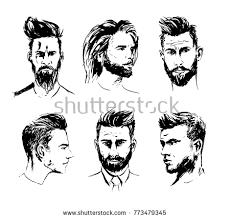 illustrations various male haircuts beard designs stock vector