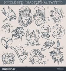 Traditional Tattoo Design Doodles Stock Vector 380570971