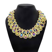 crystals fashion necklace images Buy double string gold necklace with multi colored crystals online jpeg