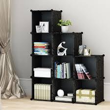 bookcase storage 9 cube diy black from kousi home