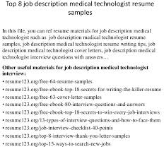 Nuclear Medicine Technologist Resume Examples Medical Technologist Cover Letter Collection Of Solutions Sample