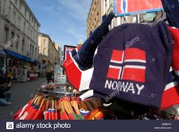 Flag Of Oslo Oslo Norway Souvenirs For Sale On The Karl Johans Gate Stock Photo