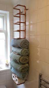 ideas for towel storage in small bathroom copper pipe towel rail diy towel holders industrial and towel rail