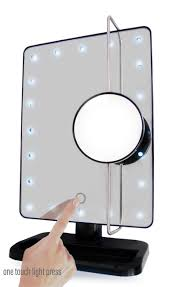 l e d lighted movable 10x magnification vanity mirror