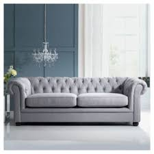 Leather And Tapestry Sofa Buy Chesterfield Linen Medium Sofa Silver From Our Fabric Sofas