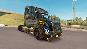truck volvo 2017 skin golden and black on the truck volvo vnl 670 for american