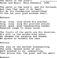 thanksgiving and harvest hymns songs the earth is the lord s