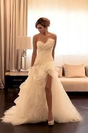 custom wedding dress asymmetrical ruffled slit ivory strapless sweetheart custom