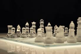 Glass Chess Boards Clear Glass And White Chess Piece On White Chess Board With Black